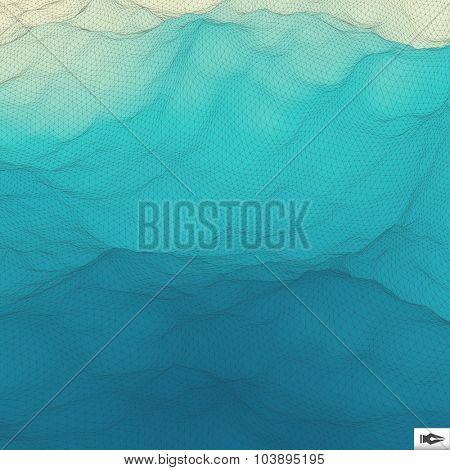 Water Surface. Wavy Grid Background. Mosaic. 3d Vector Illustration. Abstract Texture.