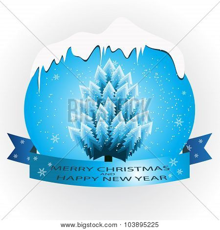 Blue Banner With A Christmas Tree.