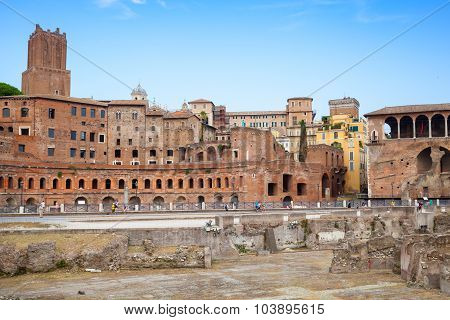 Remains Of Ancient Imperial Forums In Rome, Italy