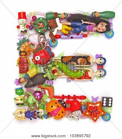 the letter  E made from small toys