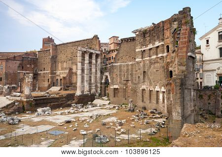 Remains Of Old Imperial Forums In Rome, Italy