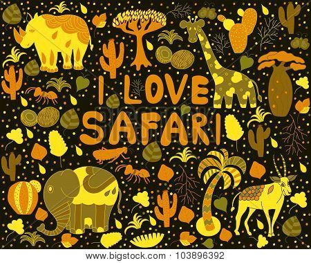 Cute Africa pattern with words