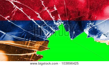Flag of Armenia, Armenian flag on painted broken glass texture