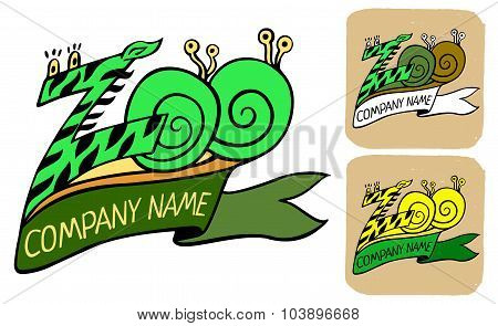 Zoo Logo Or Label With Ribbon And Title Company name