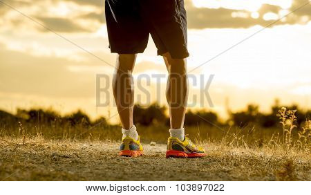 Young Man Strong Legs Off Road Runner At Amazing Summer Sunset In Sport And Healthy Lifestyle