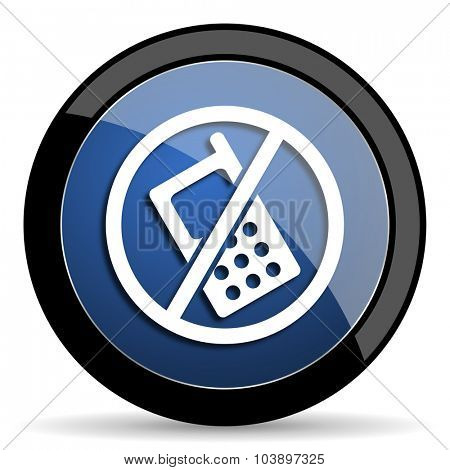 no phone blue circle glossy web icon on white background, round button for internet and mobile app