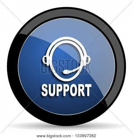 support blue circle glossy web icon on white background, round button for internet and mobile app
