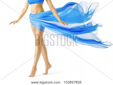 Woman Legs, Girl In Blue Waving Dress, Leg Tiptoe On White