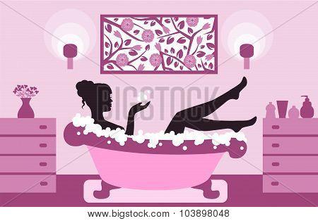 woman relaxing in bath foam