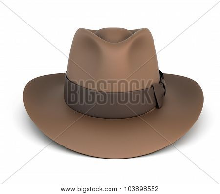 Brown Mens Hat Isolated On White