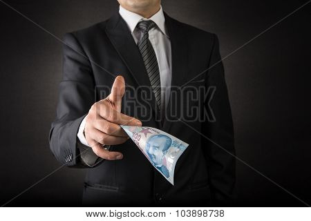 Businessman Giving Turkish Lira