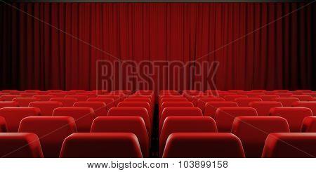 Closed Curtain Cinema Screen. 3D.