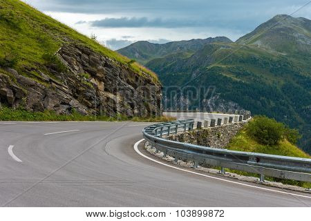 Winding Road Turn In Mountains