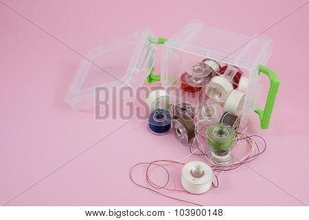 Thread spools in box container (2)