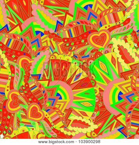 Seamless abstract hand-drawn wavy pattern