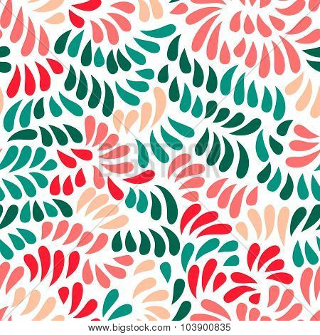 Pastel colored stylized flowers and leaves seamless pattern, vector