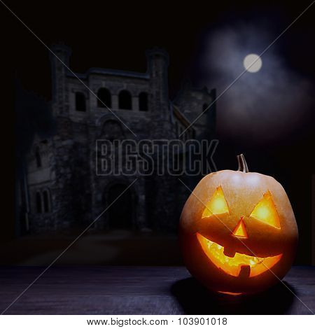 Jack o lanterns Halloween pumpkin face on sinister castle and moon background