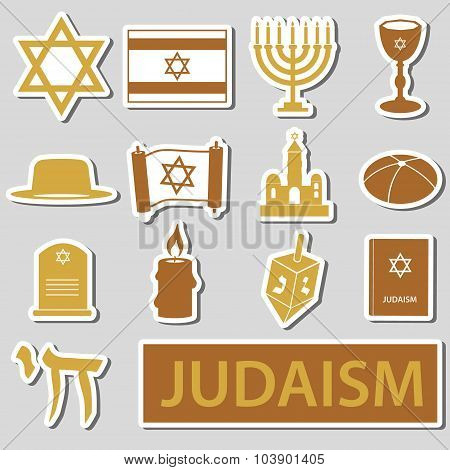 Judaism Religion Symbols Vector Set Of Stickers Eps10