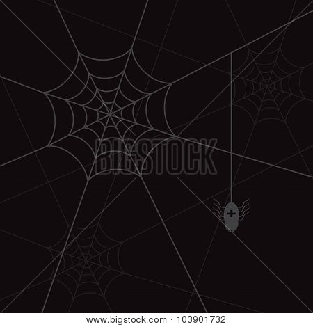 Spider Web And Litle Spider Black Eps10