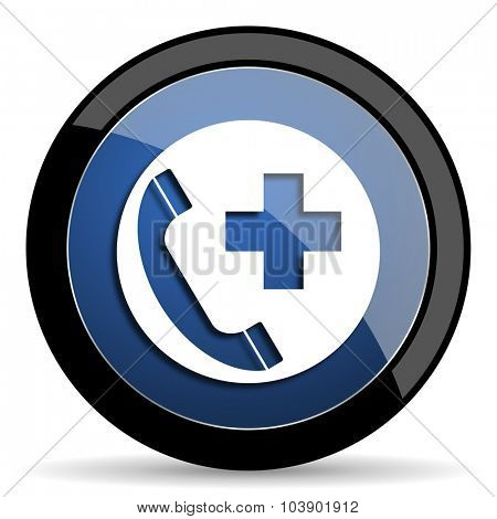 emergency call blue circle glossy web icon on white background, round button for internet and mobile app