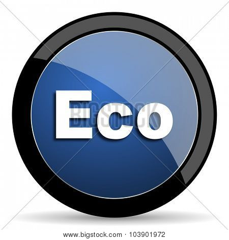 eco blue circle glossy web icon on white background, round button for internet and mobile app