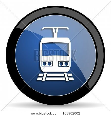 train blue circle glossy web icon on white background, round button for internet and mobile app