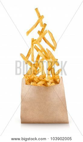 Fastfood. Flying Fried Potatoes On White Background.