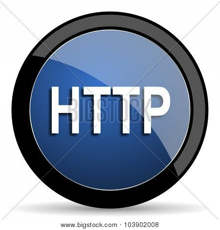 http blue circle glossy web icon on white background, round button for internet and mobile app