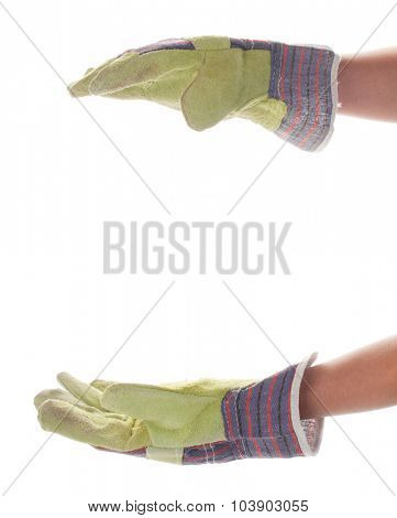Female hand in the construction glove isolated on white background