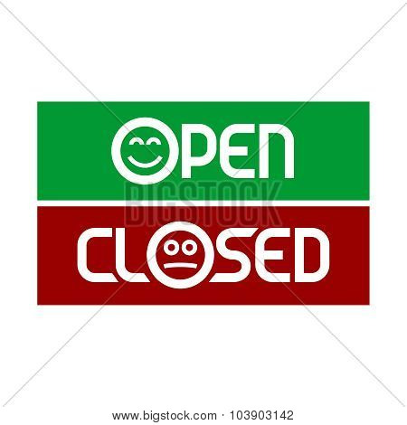 Open And Closed Signs With Emoticons. Smiling And Sad Faces.