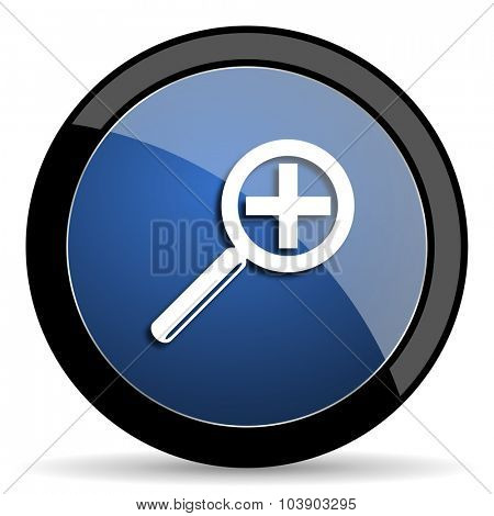 lens blue circle glossy web icon on white background, round button for internet and mobile app