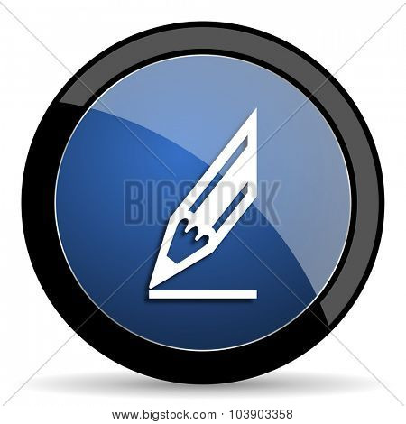 pencil blue circle glossy web icon on white background, round button for internet and mobile app