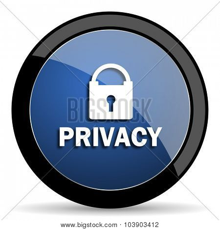 privacy blue circle glossy web icon on white background, round button for internet and mobile app