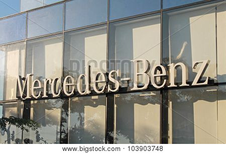Mercedes-benz Dealership Logo In Herzliya, Israel.