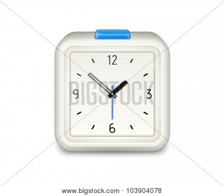 Square alarm clock with blue button. Highly detailed vector illustration