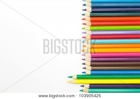 Multiple colors wooden pencil on white
