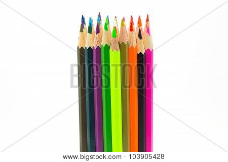 Wooden pencils  on white background