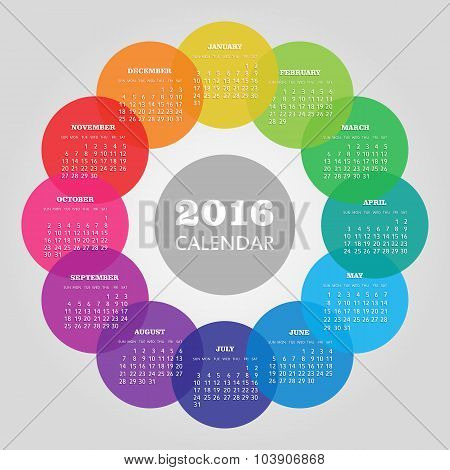 Calendar 2016 year with colored circle