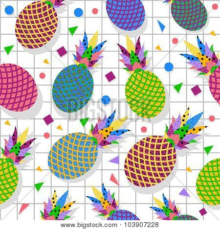 Retro Vintage Pineapple Fruit 80S Pattern Backdrop