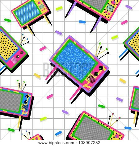 Retro Vintage 80S Tv Seamless Pattern Background