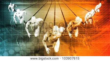 Businessmen Teamwork Running Together as a Concept in 3d