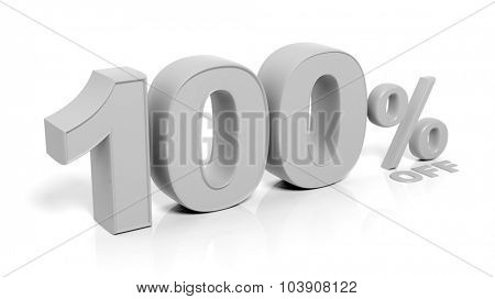 100% 3D numbers,isolated on white background.