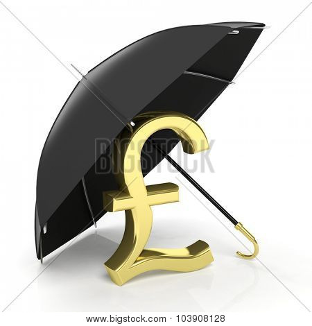 A golden pound sign under big black umbrella, isolated on white.