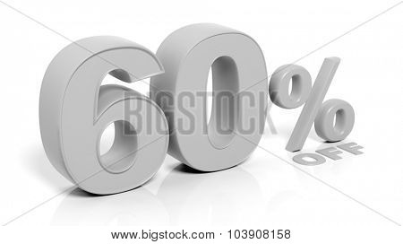 60% 3D numbers,isolated on white background.