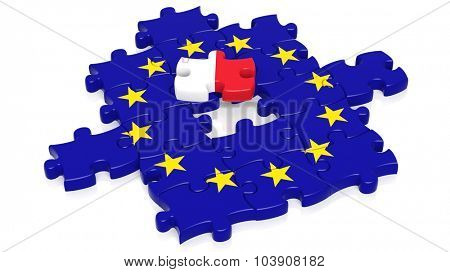 Jigsaw puzzle flag of European Union with Malta flag piece, isolated on white.