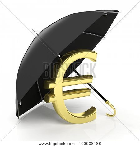 A golden euro sign under big black umbrella, isolated on white.