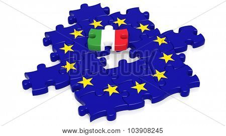 Jigsaw puzzle flag of European Union with Italy flag piece, isolated on white.