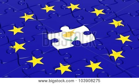 Jigsaw puzzle flag of European Union with Cyprus flag piece.