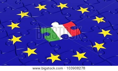 Jigsaw puzzle flag of European Union with Italy flag piece.