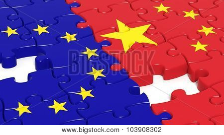 Jigsaw puzzle, flag of EU and flag of China